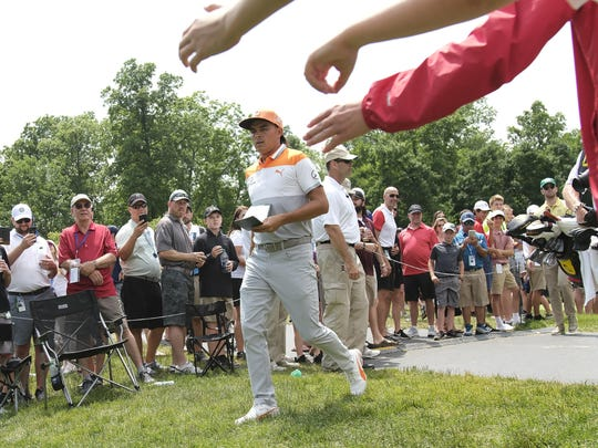 Rickie Fowler walks to the 9th tee during the final round of the Memorial Tournament at Muirfield Village Golf Club in Dublin on June 2, 2019. The Memorial Tournament has already been rescheduled, and its ability to have spectators is still undecided.