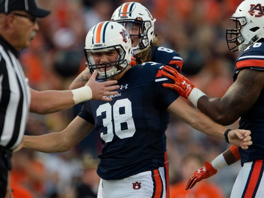 Auburn place kicker Daniel Carlson (38) celebrates after hitting a field goal during the NCAA football game between Auburn vs. Georgia Southern on Saturday, Sept. 2, 2017, at Jordan Hare Stadium in Auburn, Ala.