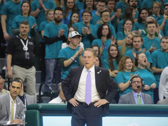 Michigan State coach Tom Izzo on the bench during the