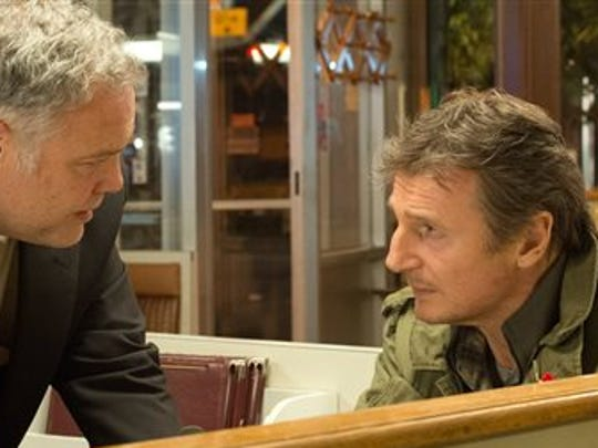 """Vincent D'Onofrio, left,  is a cop and Liam Neeson is a hit man trying to protect his son in """"Run All Night."""""""