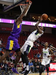Thomas Bryant of the South Bay Lakers goes up for a