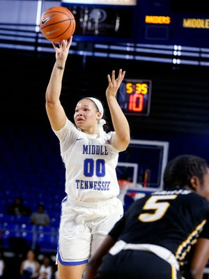 MTSU's Alex Johnson (00) goes up for 3 during a game against Southern Miss on Saturday, Jan. 20, 2018, at MTSU.