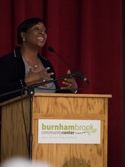 W.K. Kellogg Foundation President and CEO La June Montgomery Tabron says the recommendations for improving Battle Creek require action to be accomplished during the BC Vision community meeting at Burnham Brook on Wednesday.