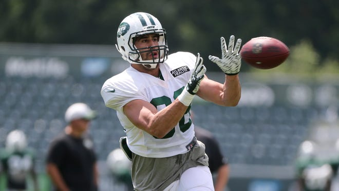 Jace Amaro makes a catch during practice at the NFL football team's training camp in Florham Park, N.J., Wednesday, Aug. 3.