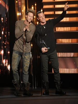 Florida Georgia Line wins for Duo of the Year during the 49th annual CMA Awards at Bridgestone Arena in Nashville.