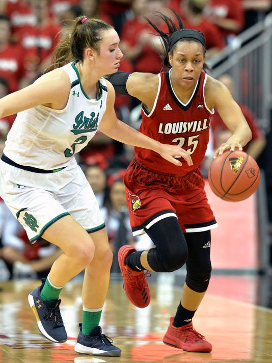 Louisville guard Asia Durr (25) drives past Notre Dame guard Marina Mabrey (3) during the second half of an NCAA college basketball game, Thursday, Jan. 11, 2018, in Louisville, Ky. (AP Photo/Timothy D. Easley)