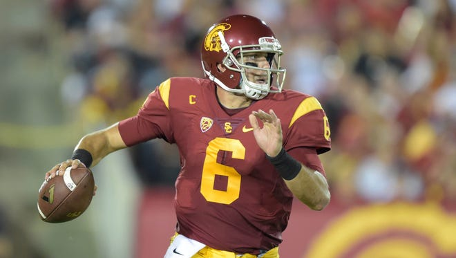 Sep 5, 2015; Los Angeles, CA, USA; Southern California Trojans quarterback Cody Kessler (6) throws a pass against the Arkansas State Red Wolves at Los Angeles Memorial Coliseum. Mandatory Credit: Kirby Lee-USA TODAY Sports