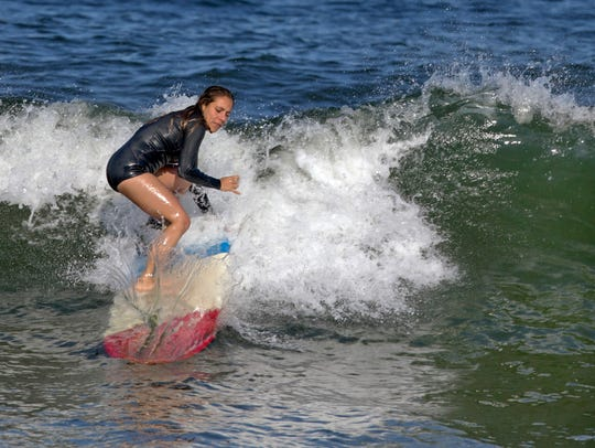 Surfing at the Jersey Shore.