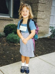 Photo undated: Jillian Phillips Daugherty was born in Cincinnati on October 17, 1989. This photo is from the first day of first grade.