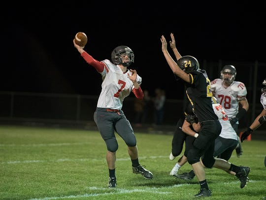Sophomore Brady Kerschner (7) will take over as starting QB for the Bucks this year.