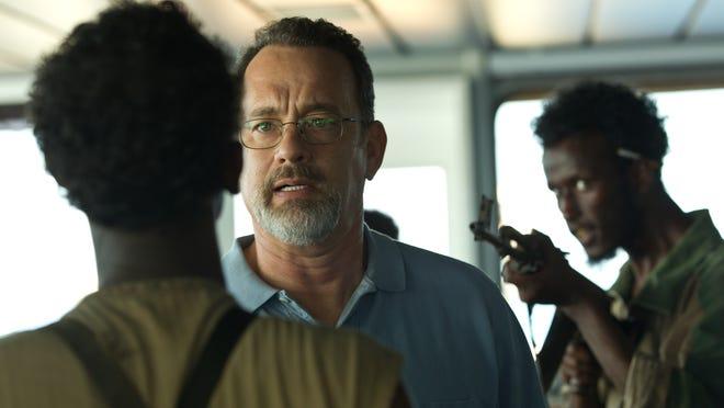 Tom Hanks, center, stars in the high-seas hijacking drama 'Captain Phillips.'