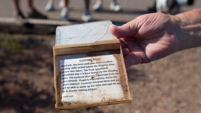 Al Schoon has placed over 300 geocaches in Arizona. Schoon hinds notes and puzzles that help lead the geocachers to the cache.