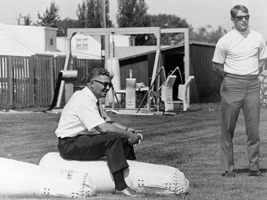 In this image from his personal collection, Chuck Lane, the Green Bay Packers Director of Public Relations from 1966-'80, is pictured with Vince Lombardi.