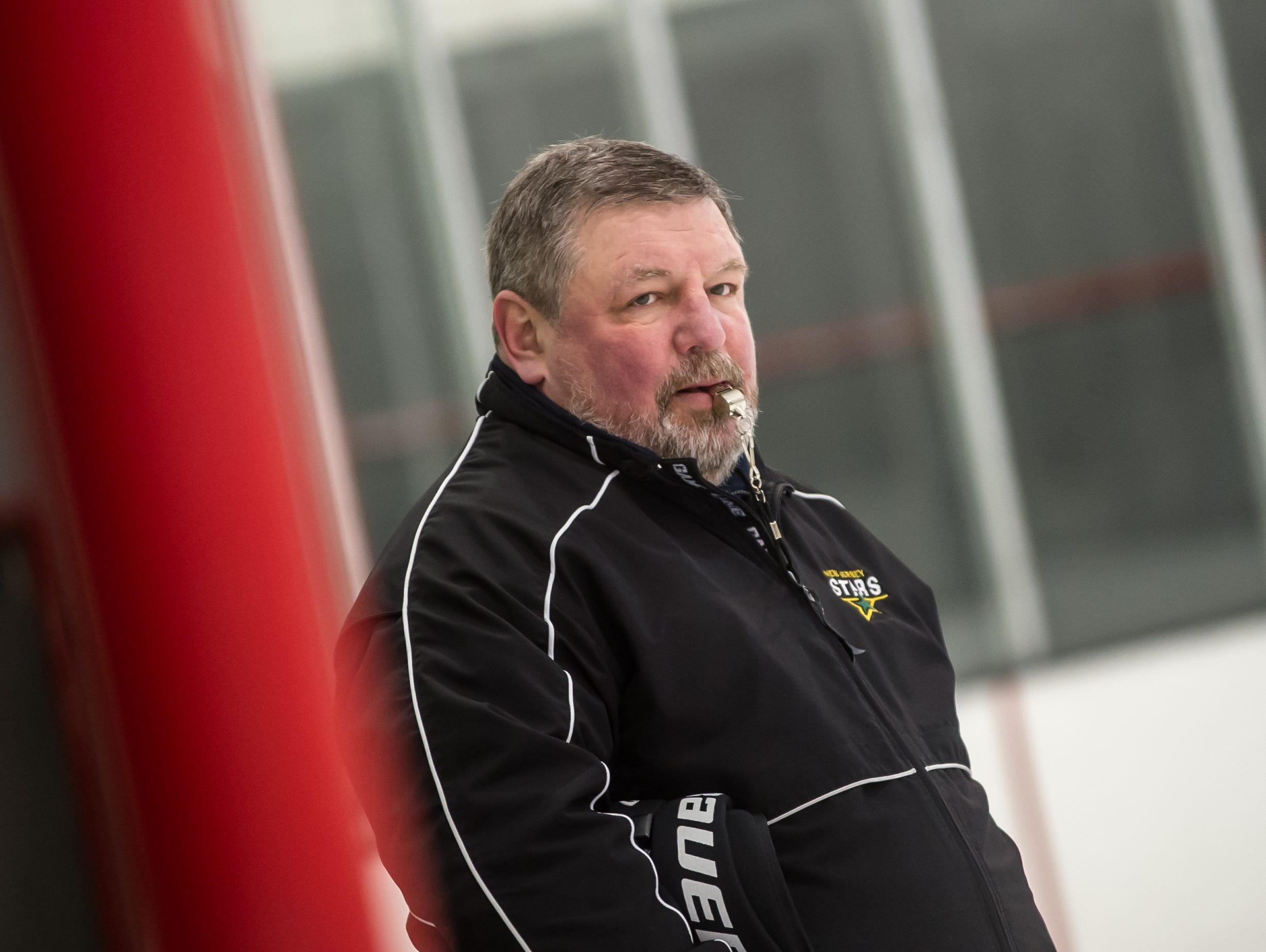 Hockey legend Sergei Starikov, the new head ice hockey coach at South Brunswick High School, coaches the team during a practice at Pro Skate in South Brunswick on Nov. 20.