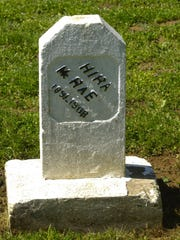 There are errors on the headstone of Hiram McRea in a tiny cemetery near Mill Creek Correctional Facility. The 'm' is left off his first name, and his last name is spelled incorrectly.