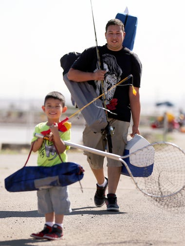 Asahel Gonzalez, 4, was ready for a day of fishing