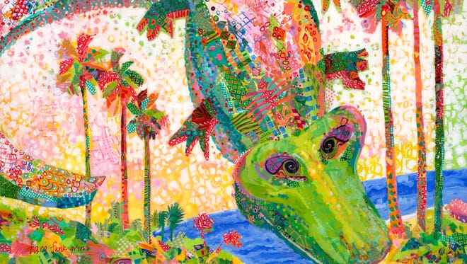 "Delaware artist Tara Funk Grim won this year's ArtFest Fort Myers poster and T-shirt contest with ""Ali Gator."""