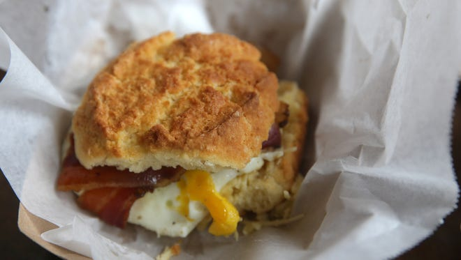 A breakfast sandwich at Flour City Bread Co. at the Rochester Public Market.