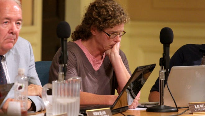 Burlington City Councilor Rachel Siegel, P-Ward 3, reacts after tabling her motion to ask Burlington voters to weigh in on amnesty for marijuana and hemp-related offenses. Siegel said she realized the resolution did not have the sufficient support on the council to pass.