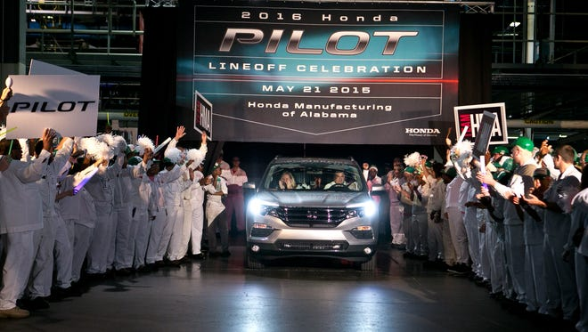 A ceremony was held Thursday, May 21, 2015, at the Honda plant in Lincoln, Ala., to mark the start of production of the new Honda Pilot.