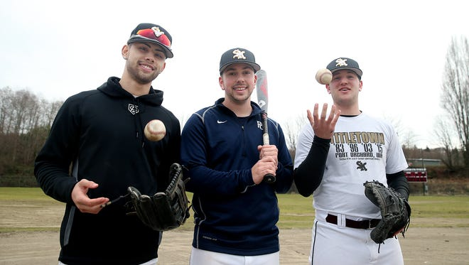 South Kitsap's baseball team is led by three college-bound seniors in (from left) Dusty Garcia, Drew Worden and Alex Garcia.