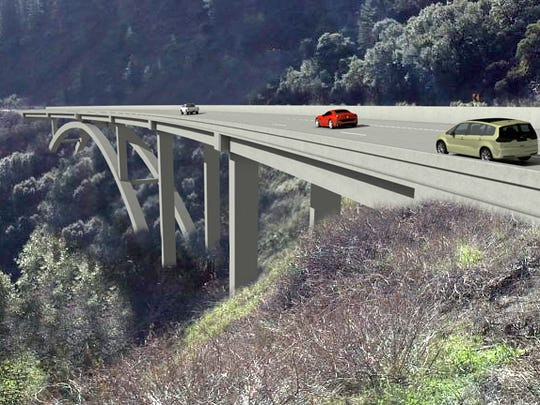 This artist's rendering depicts a new bridge under construction on Interstate 5 near O'Brien north of Redding.