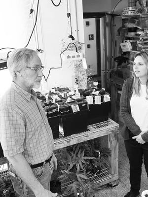 Kennebunk Land Trust's Executive Director Sarah Stanley visits University of New England Environmental Studies Department professor Tom Klak and his lab to learn about his team's efforts to restore the American chestnut.