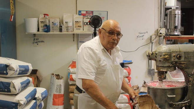 Ruben Contreras a seasoned baker with over 60 years of experience specializes in the cultural tradition of Mexican pastries.