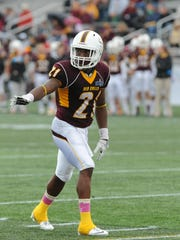 Isaiah Taylor readies himself for a play during a Salisbury University game in 2013.