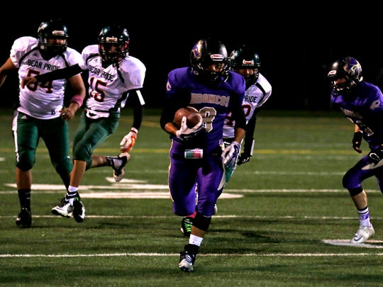Kirtland Central's Keishaun Aspaas runs with the ball on Oct. 23 during a game against Wingate at Bronco Stadium in Kirtland.