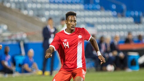 Mark-Anthony Kaye during the Men's International Friendly on June 13 in Montreal.