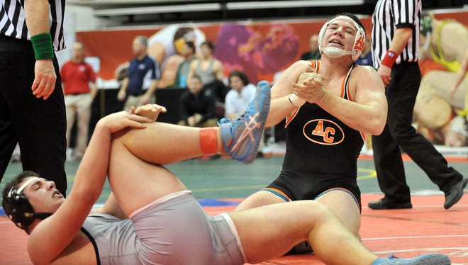 Amanda-Clearcreek's Cole Genders celebrates after his championship quarterfinals victory Friday, March 13, 2015, during the Division II State Wrestling Tournament at the Jerome Schottenstein Center in Columbus.