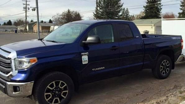 """Please keep watch for this blue 2014 Toyota Tundra with Eagle Mount """"We One"""" license plate, which was stolen from Eagle Mount Great Falls on the 4th of July."""