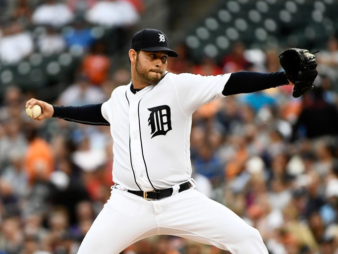 Detroit Tigers pitcher Anibal Sanchez works in the