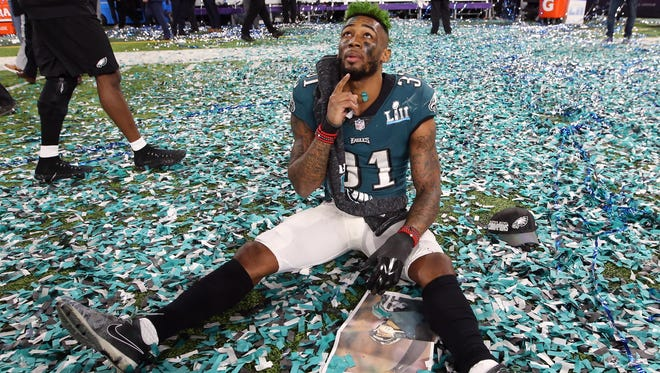 Philadelphia Eagles cornerback Jalen Mills (31) reacts after defeating the New England Patriots in Super Bowl LII at U.S. Bank Stadium.