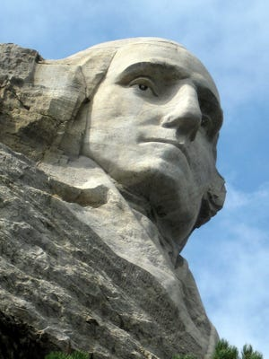 The George Washington face on Mount Rushmore National Memorial near Keystone, S.D.