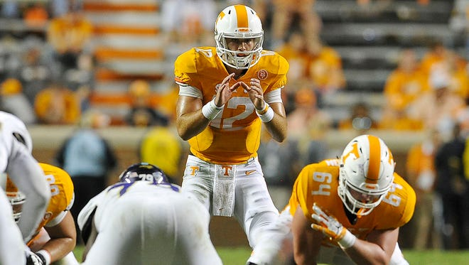 Tennessee quarterback Quinten Dormady in action against Western Carolina on Sept. 19, 2015, in Knoxville.
