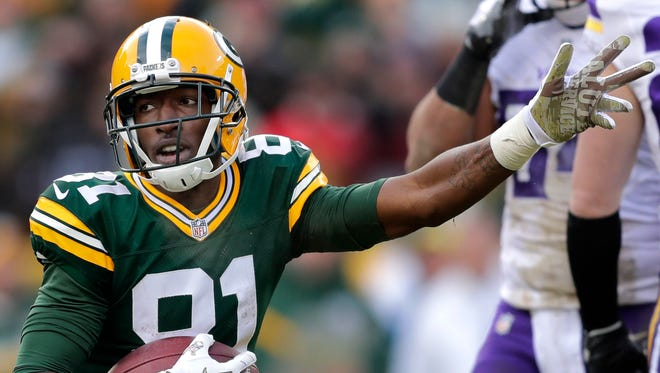 Green Bay Packers receiver Geronimo Allison reacts after a reception for a first down against the Minnesota Vikings at Lambeau Field.