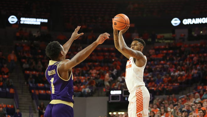 Clemson guard Shelton Mitchell (4), shown in an earlier game,, scored 16 points  in Clemson's loss Sunday to Temple.