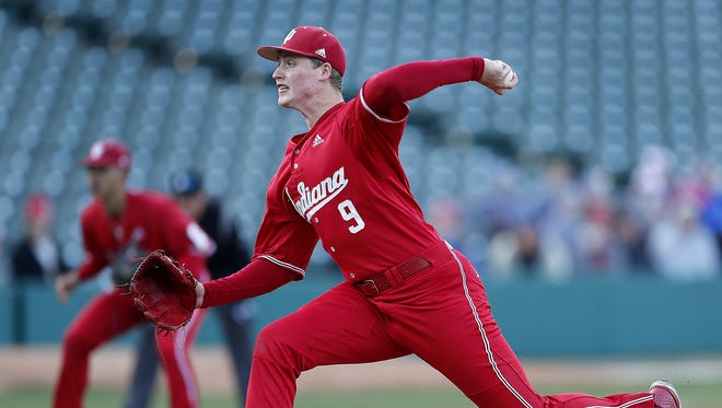 Indiana pitcher Tim Herrin (9) delivers a pitch in the first inning of  their NCAA baseball game agains the Notre Dame Fighting Irish at Victory Field Tuesday April 17, 2018.