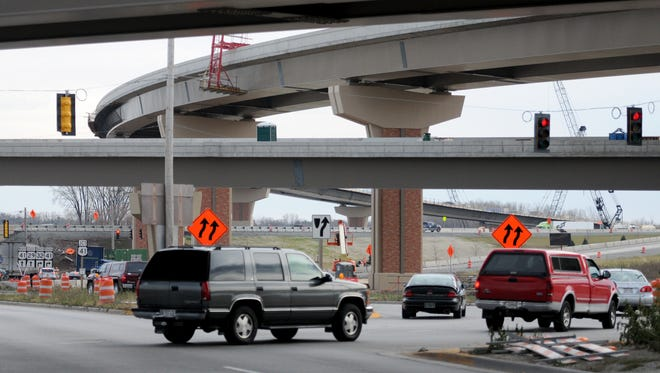 The U.S. 41/Wisconsin 29 interchange construction project, seen in its early stages a year ago, is nearing completion.