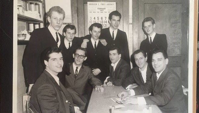 Paul Spencer (furthest left, standing) played drums for the Four Seasons' Milwaukee show in 1963. Last week, Spencer reconnected with Frankie Valli (sitting, center) backstage after Valli's Milwaukee Theatre show.