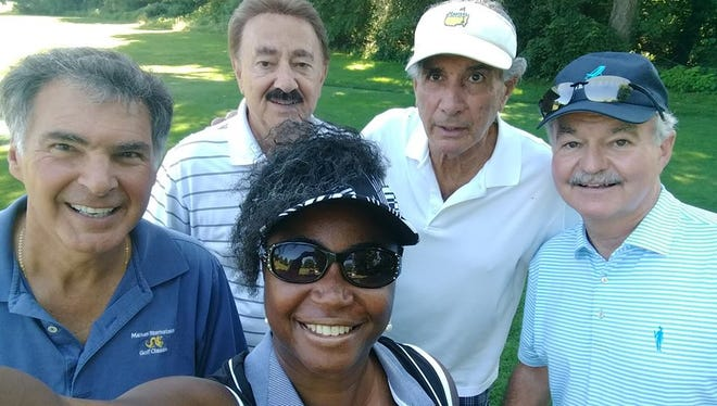 """Sandra Thompson golfs with four men in her first outing since she was asked to leave Grandview Golf Club on April 21. Included in her group Saturday were Artie Pasquale, an actor from """"The Sopranos,"""" and Pennsylvania Superior Court Judge Jack Panella."""