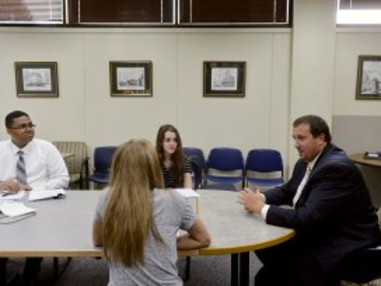 State Rep. Seth Grove, R-Dover Township, speaks with members of the York Daily Record's Teen Takeover staff Thursday, Sept. 3, 2015, in the newspaper's conference room. (Chris Dunn - Daily Record/Sunday News)