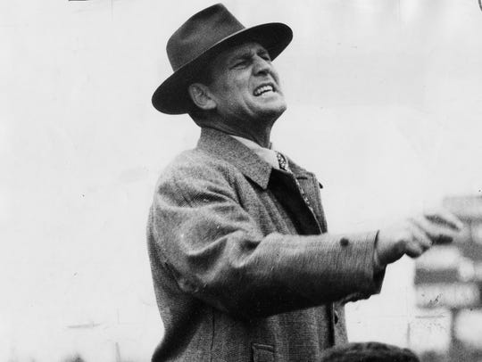 """Paul """"Bear"""" Bryant in 1951, during his time as UK's football coach."""