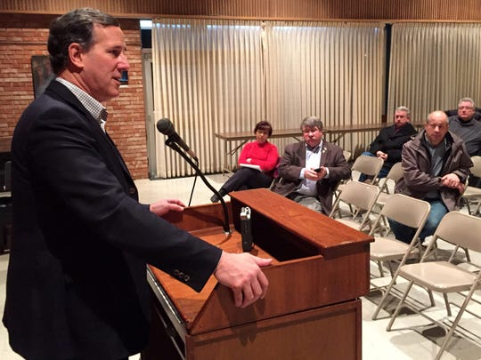 Rick Santorum speaks Monday at the Fisher Community