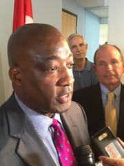 Michael Ford, executive director of the Regional Transit Authority of Southeast Michigan, addresses the media Thursday in Detroit.