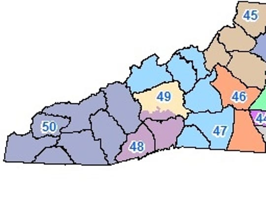 The state Senate district map for Western North Carolina.