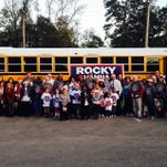 Rocky Hanna with supporters at Saturday's Winter Festival.