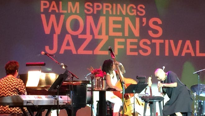 Dee Dee Bridgewater (right), Karen Hammack (left) and bassist Mimi Jones perform Saturday at the Palm Springs Women's Jazz Festival at the Annenberg Theater.